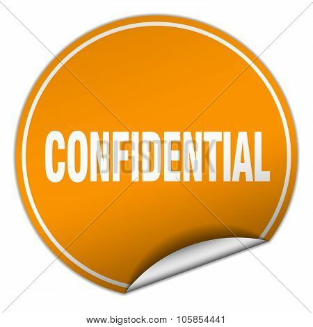 Confidential Round Orange Sticker Isolated On White
