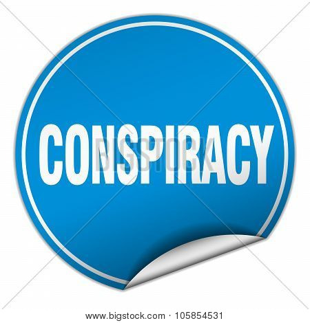 Conspiracy Round Blue Sticker Isolated On White