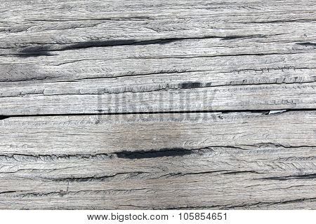 Old Rough Gray Wooden Planks Full Of Cracks