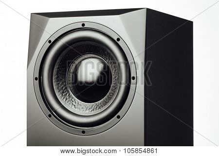 professional studio subwoofer speaker on white background