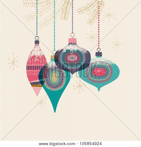 Vintage Christmas baubles, eps10 vector