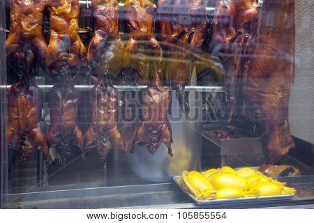 Food In Shopping Window Of Chinese Restaurant In Chinatown Manhattan New York City