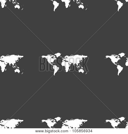 Globe Sign Icon. World Map Geography Symbol. Seamless Pattern On A Gray Background.