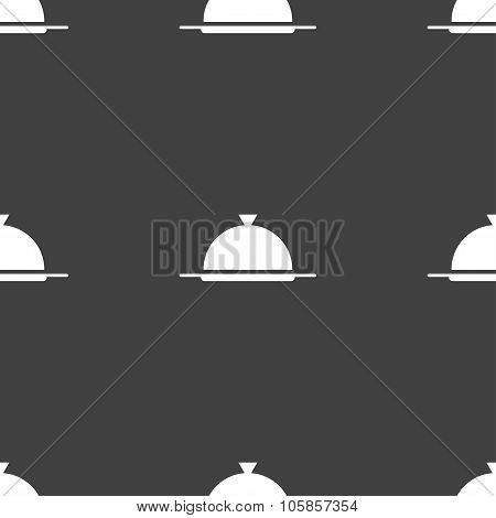 Food Platter Serving Sign Icon. Table Setting In Restaurant Symbol. Seamless Pattern On A Gray
