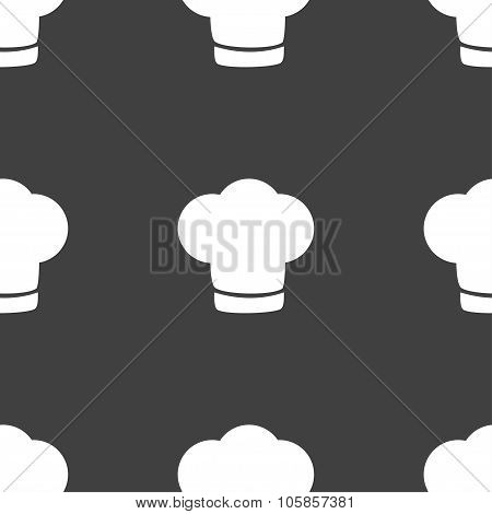 Chef Hat Sign Icon. Cooking Symbol. Cooks Hat. Seamless Pattern On A Gray