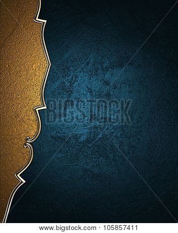 Blue Texture With Gold Pattern On The Edge. Element For Design. Template For Design. Copy Space For