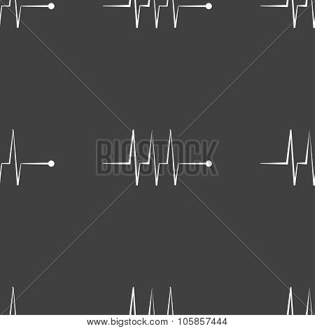 Cardiogram Monitoring Sign Icon. Heart Beats Symbol. Seamless Pattern On A Gray Background.