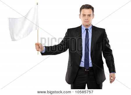 Sad Man Holding A White Flag, Gesturing Defeat