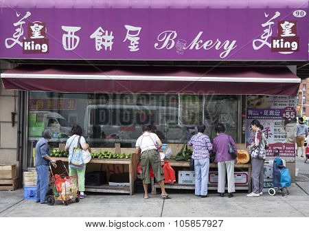 Chinese Bakery Shop Sells Vegetables In Chinatown Manhattan New York City