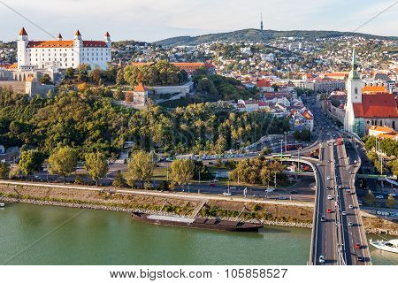 Danube Waterfront And Bratislava Old Town