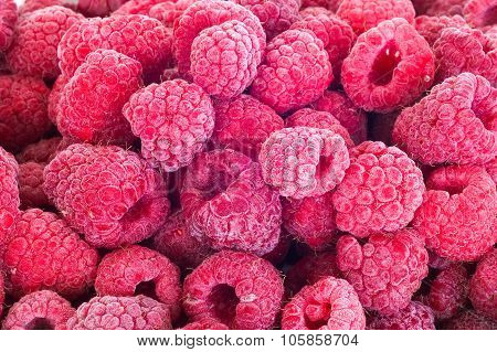 Delicious First Class frozen raspberries Background Healthy food