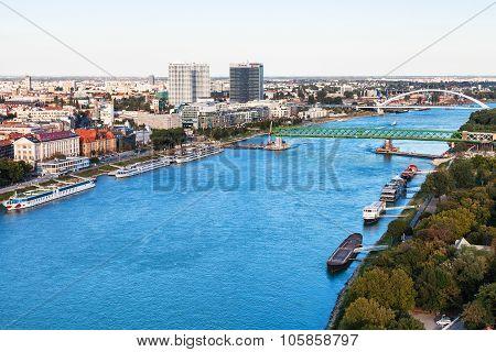 View Of Waterfronts On Danube River In Bratislava