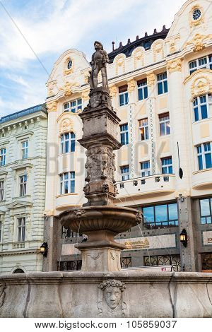Rroland Fountain In Bratislava Old Town