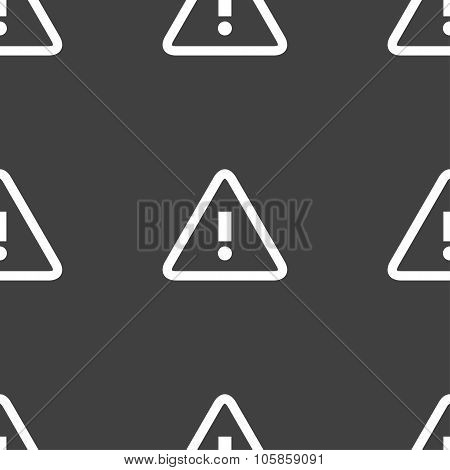 Attention Caution Sign Icon. Exclamation Mark. Hazard Warning Symbol. Seamless Pattern On A Gray