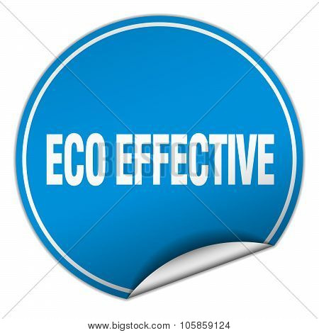 Eco Effective Round Blue Sticker Isolated On White