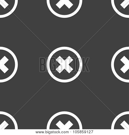 Cancel Icon. No Sign. Seamless Pattern On A Gray Background.