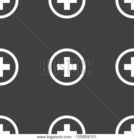 Plus Sign Icon. Positive Symbol. Zoom In. Seamless Pattern On A Gray Background.