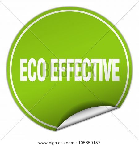 Eco Effective Round Green Sticker Isolated On White