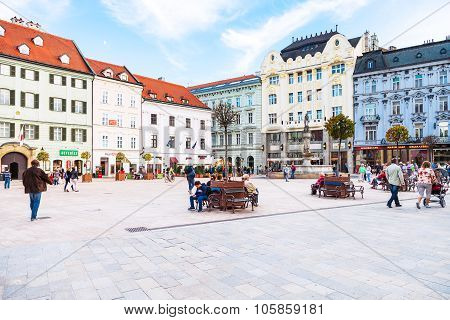 People At Main Square In Bratislava Old Town