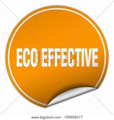 Eco Effective Round Orange Sticker Isolated On White