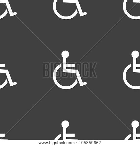Disabled Sign Icon. Human On Wheelchair Symbol. Handicapped Invalid Sign. Seamless Pattern On A