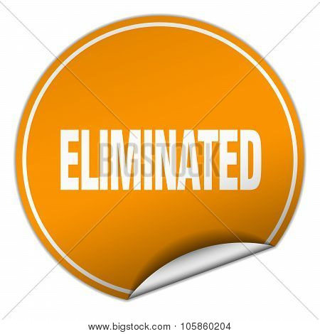 Eliminated Round Orange Sticker Isolated On White