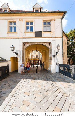 People In Gate To Michalska Street In Bratislava
