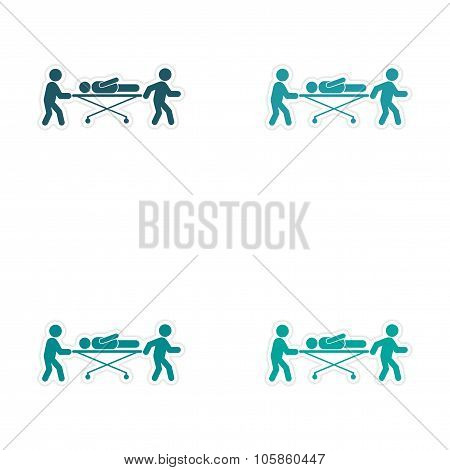 Set of stickers patients are on stretchers white background