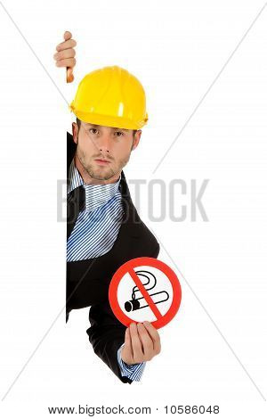 Attractive Businessman, No Smoking Sig.