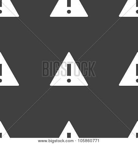 Attention Sign Icon. Exclamation Mark. Hazard Warning Symbol. Seamless Pattern On A Gray
