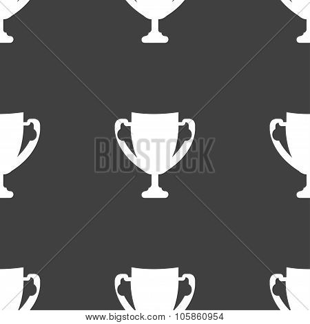 Winner Cup Sign Icon. Awarding Of Winners Symbol. Trophy. Seamless Pattern On A Gray Background.
