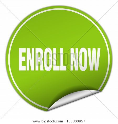 Enroll Now Round Green Sticker Isolated On White