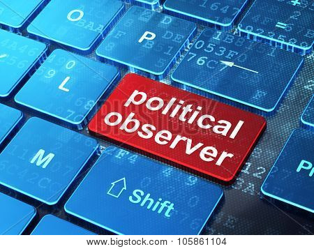 Politics concept: Political Observer on computer keyboard background