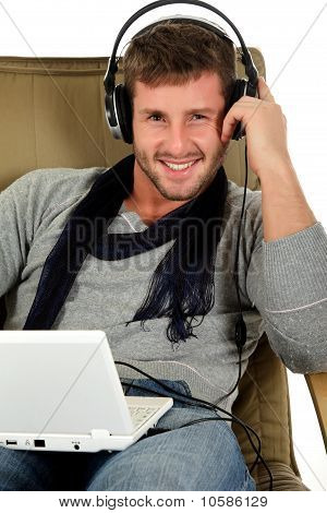 Handsome Young Caucasian Man, Music Listening