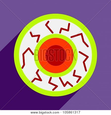 Flat with shadow icon and mobile application eyeball zombies