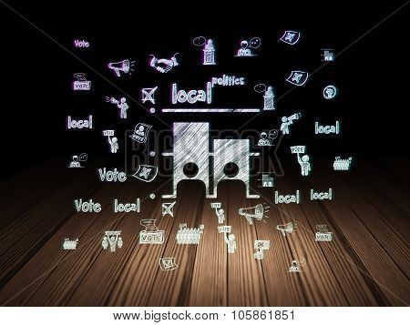 Political concept: Election in grunge dark room