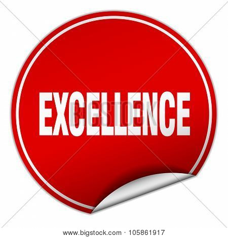 Excellence Round Red Sticker Isolated On White