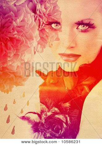 Rainbow Background With Woman And Roses