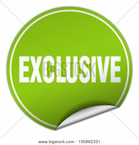 Exclusive Round Green Sticker Isolated On White