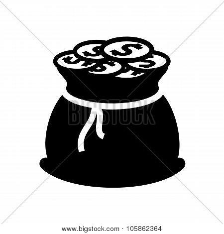 Money bag black icon