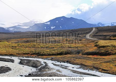 Icelandic Landscape with Road and Glacial River
