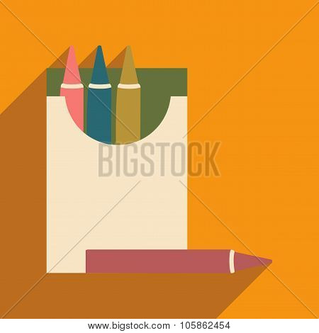 Flat with shadow icon and mobile application crayons