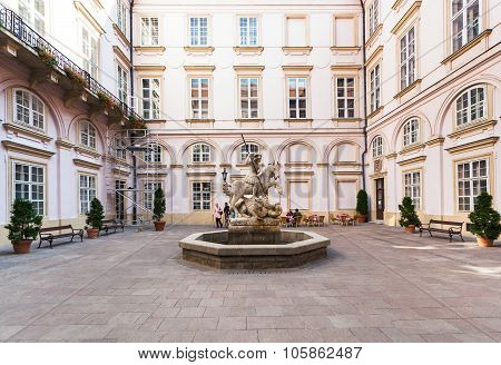 Fountain Of St. George In Yard Of Primate's Palace