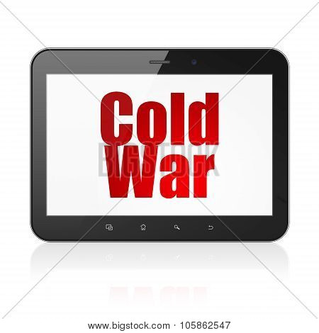 Politics concept: Tablet Computer with Cold War on display