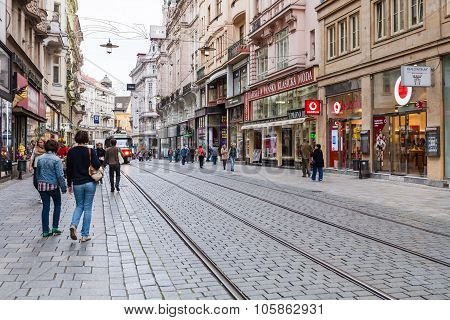 Tourists On Masarykova Street In Brno Old Town