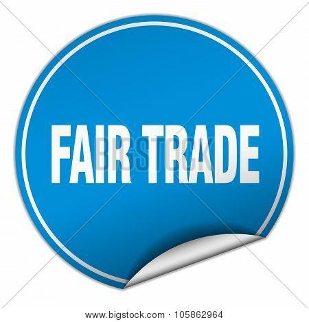 Fair Trade Round Blue Sticker Isolated On White