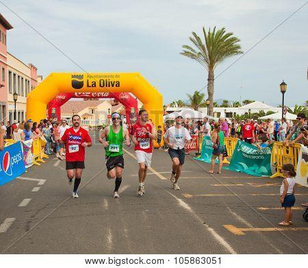 Corralejo - November 03: Participants Running Towards The Finish At Fourth International Fuerteventu