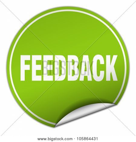 Feedback Round Green Sticker Isolated On White