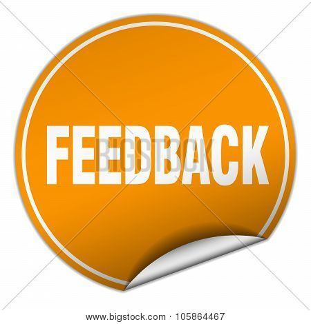 Feedback Round Orange Sticker Isolated On White