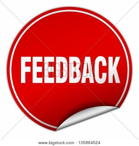 Feedback Round Red Sticker Isolated On White